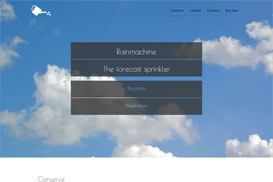 One page website ter promotie van rainmachine.com